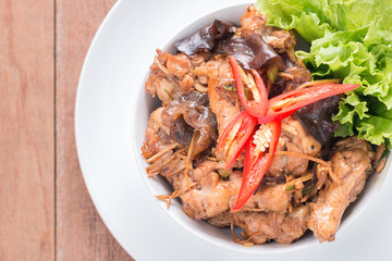 Stir fried chicken with ginger, Thai food