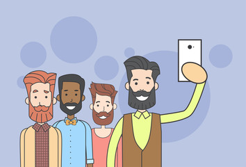 Man Group Hipster Taking Selfie Photo On Smart Phone