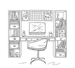 Sketch interior comfortable workplace.