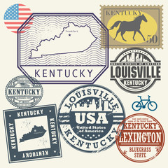 Stamp set with the name and map of Kentucky, United States