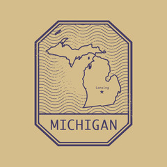 Stamp with the name and map of Michigan, United States