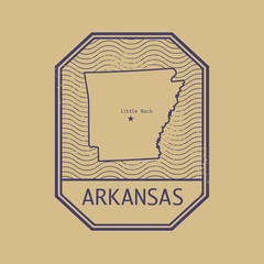 Stamp with the name and map of Arkansas, United States