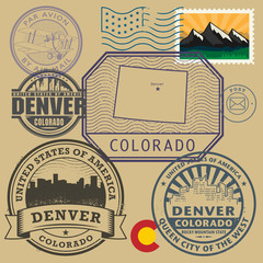 Stamp set with the name and map of Colorado, United States