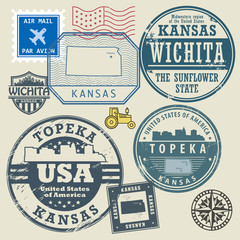 Stamp set with the name and map of Kansas, United States