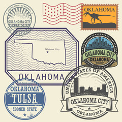 Stamp set with the name and map of Oklahoma, United States