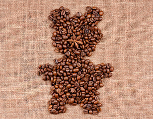 Bear made of coffee beans