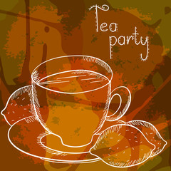 Background with a tea cup and lemon