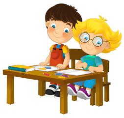 Cartoon kids in school desk - isolated - illustration for the children