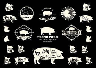 Vector Pork Logo, Icons, Charts and Design Elements