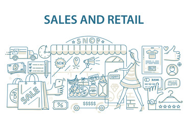 Doodle style design concept of retail commerce and shopping