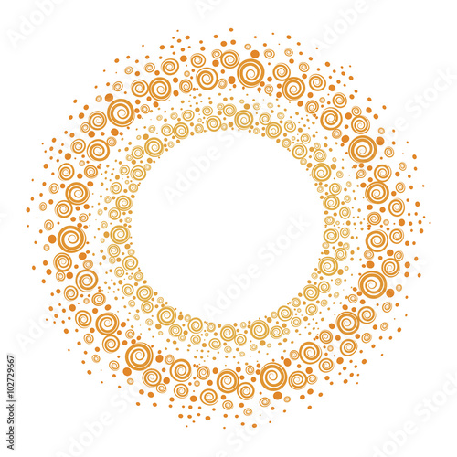 Hand drawn gold frames. Round decorative borders for your design ...