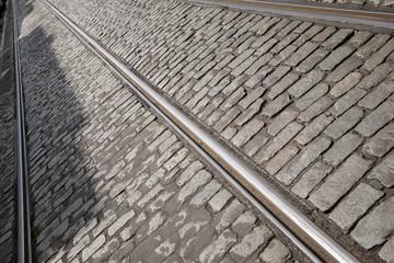 Tram Track in Brussels; Belgium