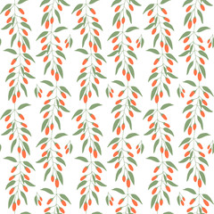 Seamless pattern branches and leaves of Goji berries . Floral background.