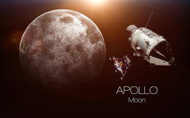 Wall Mural - Moon - Apollo spacecraft. This image elements furnished by NASA.