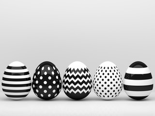 3d elegant, black and white Easter eggs