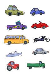 Transport Sketch Set color