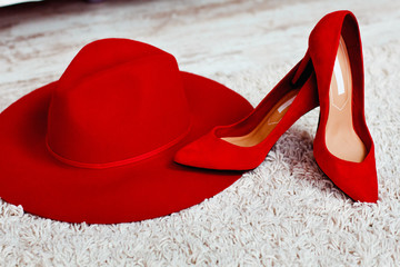 beautiful and stylish red shoes and red hat
