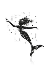 Meerjungfrau spielt mit einer Muschel