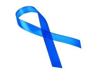 Awareness blue ribbon isolated on white background