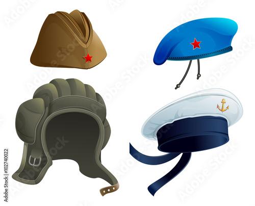 b568baaa8 Set Military Army headdress. Russian military garrison cap. Modern ...