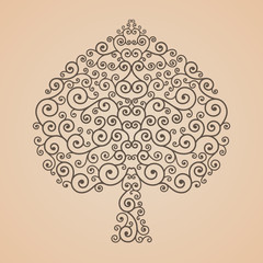 Bodhi Tree shape, Abstract vector tree
