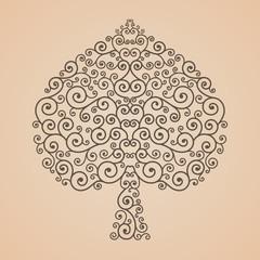 Bodhi Tree shape, Abstract vector tree