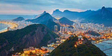 Wall Mural - Night panorama of Rio de Janeiro, Brazil