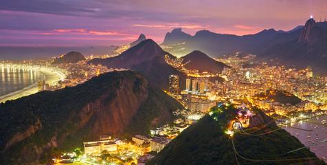 Night view of Rio de Janeiro, Brazil Fototapete