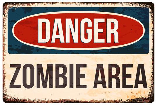 Halloween warning sign. Danger, zombie area! Vector illustration, eps10.