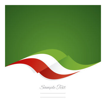 Abstract Mexican flag ribbon green background