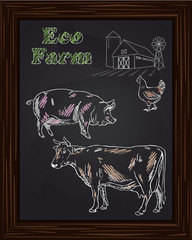 eco farm with chicken, cow, pig