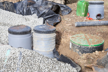 Installation of a new septic tank gravel filter bed with pump and filters for disposal of sewage and wastewater