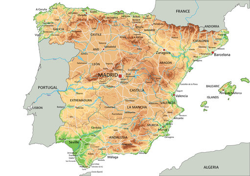 High detailed Spain physical map with labeling.