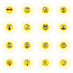 Vector illustration of 16 sun facial expression.
