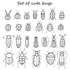 Set of 25 cute cartoon insects in vector. Bugs doodle collection