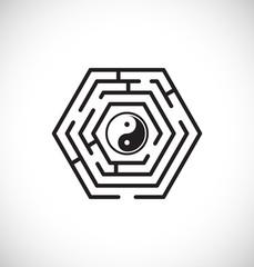 ying yang inside maze labyrinth