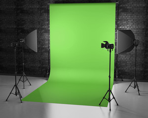 Greenscreen studio with lightbox and softbox. Film studio with g