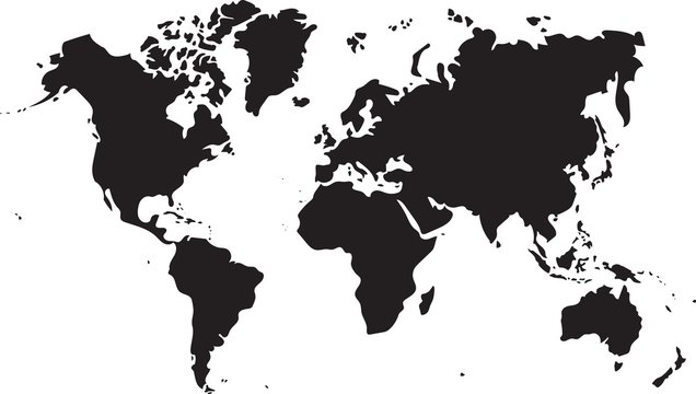 Silhouette freehand world map sketch on white background.