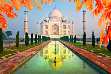 Keuken foto achterwand India Taj Mahal at sunrise, Agra, Uttar Pradesh, India.