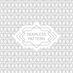 Vector seamless pattern with line style badge in black and white