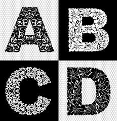 Elegant floral alphabet on white background