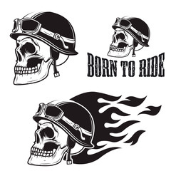 Skull in motorcycle helmet with fire. Born to ride.