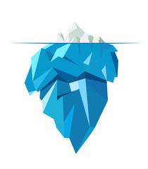 Isolated full big iceberg, flat style illustration