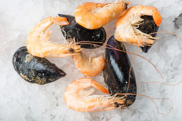 Shrimps and mussels on ice