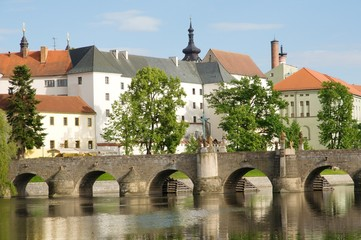 Medieval Town Pisek and historic stone bridge over  river Otava in the Southern Bohemia, Czech Republic