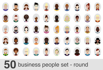 50 business people set - round