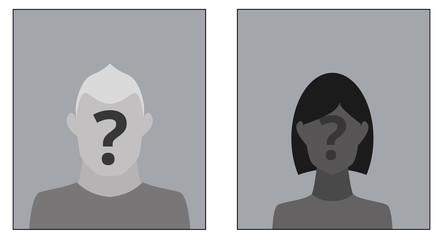Zwei Avatare mit Fragezeichen - rechteckig