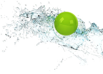 Wall Mural - bright green sphere in water splash