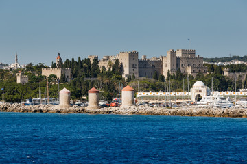 Panorama of the Old Town from the sea. Rhodes Island. Greece