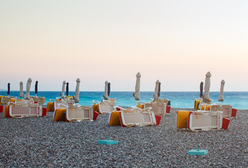 Urban beach at sunset. Rhodes Island. Greece